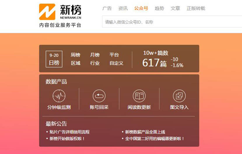 A screenshot of New Rank's website shows the number of posts viewed over 100,000 times on WeChat.