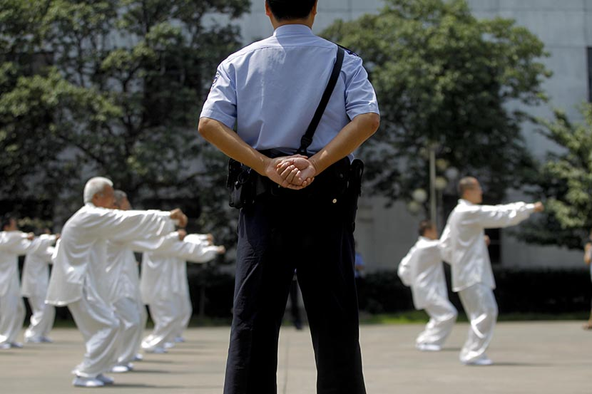 Drug users practice tai chi at a compulsory rehabilitation center in Shanghai, June 21, 2013. Zhang Dong/Sixth Tone