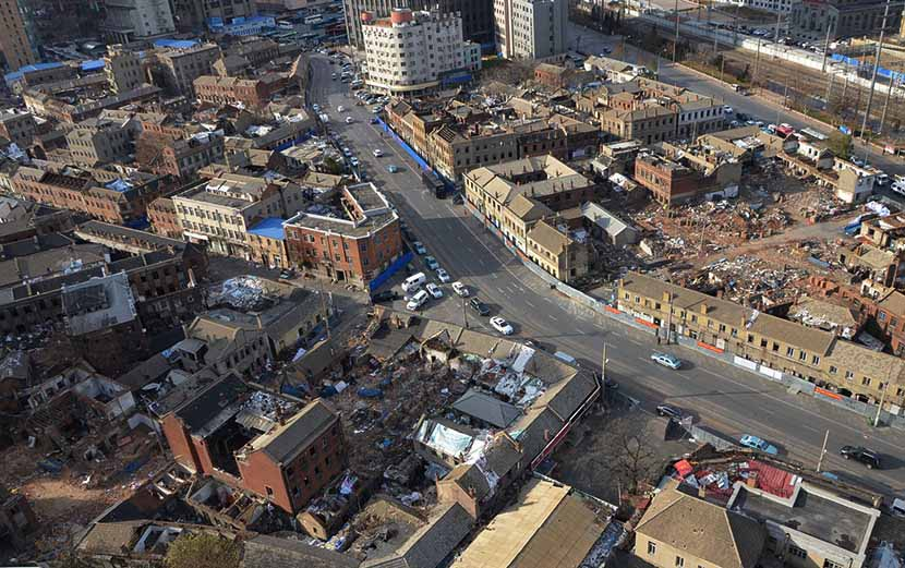 Some of the historic buildings have already been demolished in the Dongguan Street neighborhood of Dalian, Liaoning province, Nov. 22, 2016. Courtesy of a Dalian heritage protection volunteer