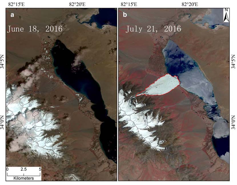 Images before and after the Aru Glacier collapse on July 17, 2016. From the Journal of Glaciology