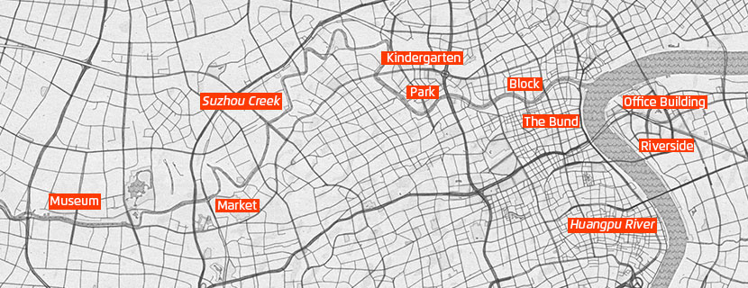 "A map of Shanghai shows locations of some of the soundscapes featured in the ""City Roaming"" project."
