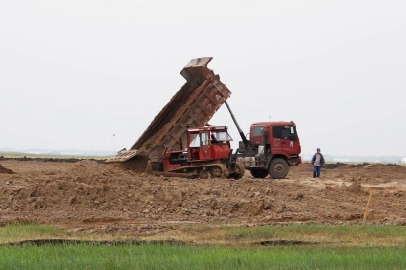 Construction vehicles are seen on reclaimed land at Lindian Wetland, Heilongjiang province, July 2016. Cicy Lin for Sixth Tone