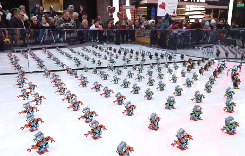 An army of UBTech's educational Jimu robots on display at a shopping center in New York, November 2016. Courtesy of UBTech