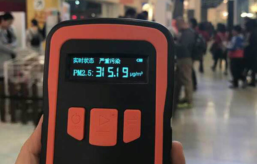 Tian Tian's PM 2.5 detector reads 315.19 inside a shopping center in Beijing, Dec. 18, 2016. Courtesy of Tian Tian