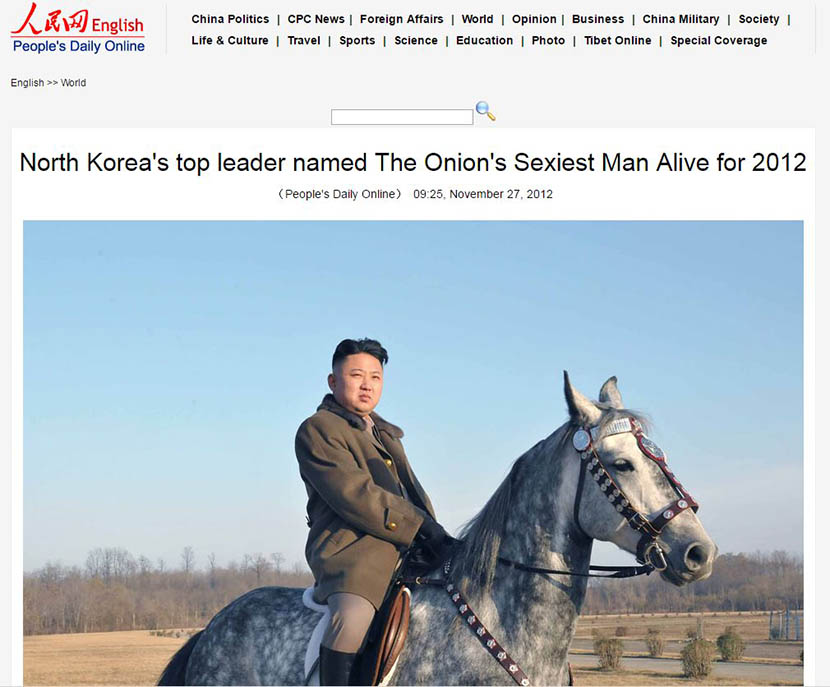 A screenshot from a cached page shows the People's Daily report on North Korean leader Kim Jong Un being named The Onion's 'Sexiest Man Alive' in 2012.