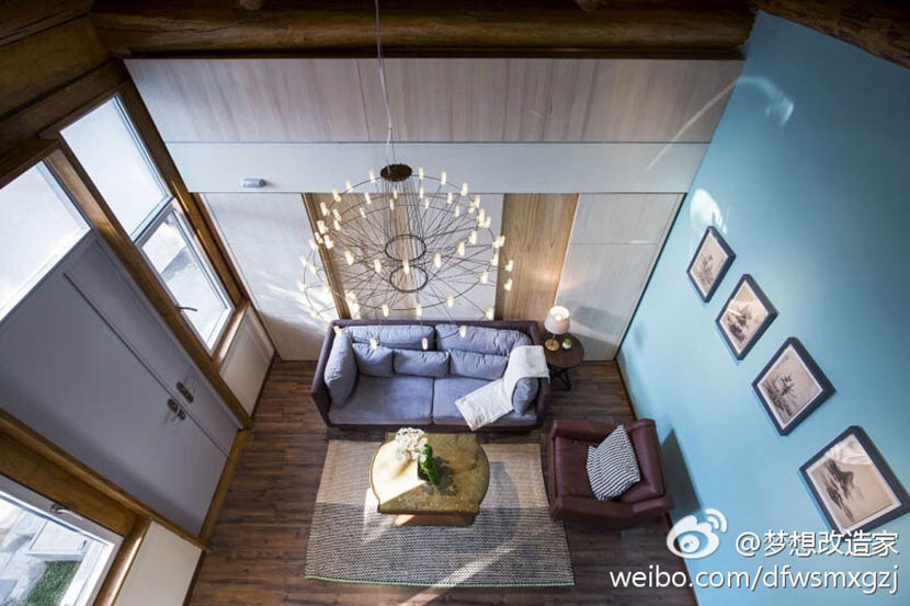 An interior view of Kang Da's house after the renovation. @mengxianggaizaojia from Weibo