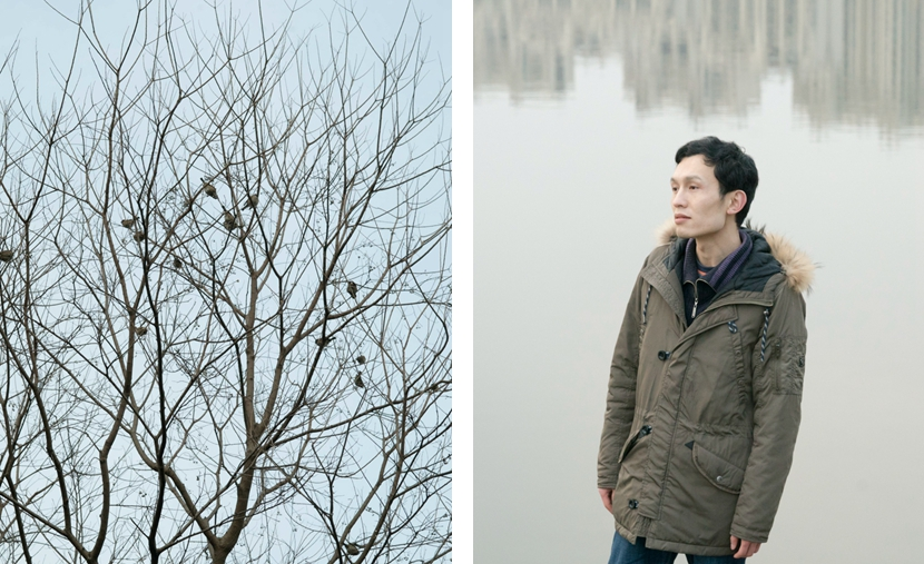 Left: Birds rest on bare tree branches; right: Li Mengqi poses by a river in Shanghai, Jan. 23, 2017. Zhou Pinglang/Sixth Tone
