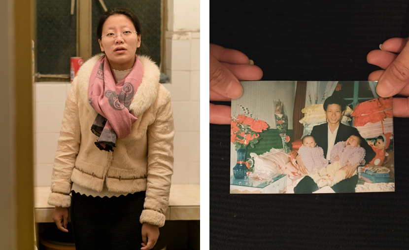 Left: Wang Yiwen, who works for her local neighborhood committee, poses in her office; right: Wang's father is pictured holding his twin girls, Jan. 23, 2017. Zhou Pinglang/Sixth Tone