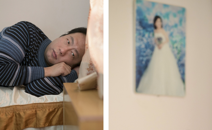 Left: Chen Difei lies in his bed at home; right: a wedding photo of Chen's mother, Shanghai, Jan. 24, 2017. Zhou Pinglang/Sixth Tone