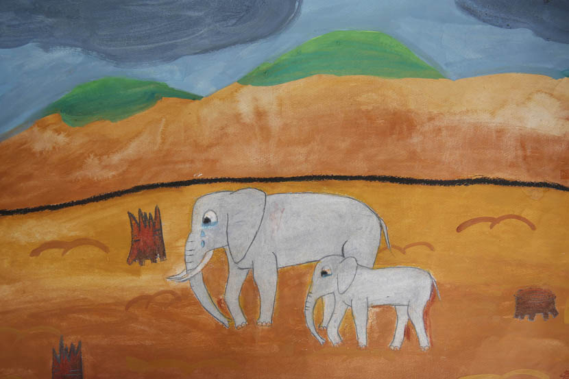 A drawing by a middle-school student in Xishuangbanna shows two Asian elephants crying because of deforestation. VCG