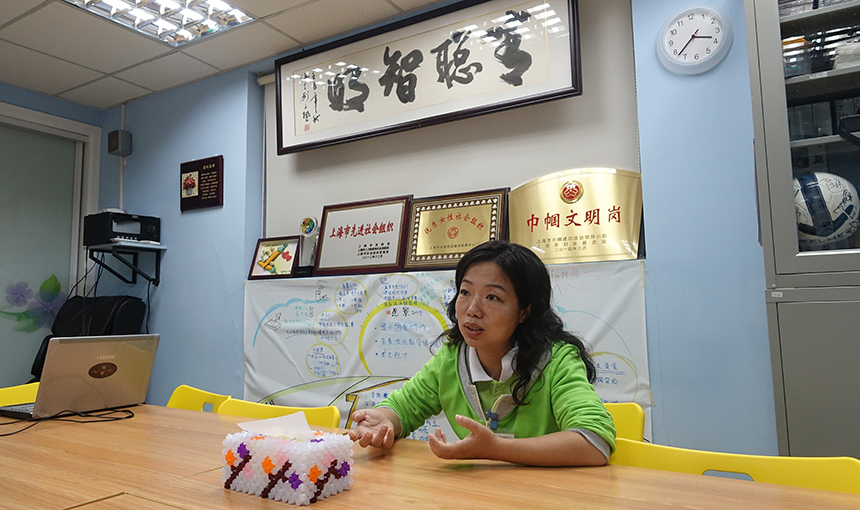 Chen Jie of Qing Cong Quan Training Center for Children with Special Needs in Shanghai, Oct. 30, 2015. Sarah O'Meara/Sixth Tone