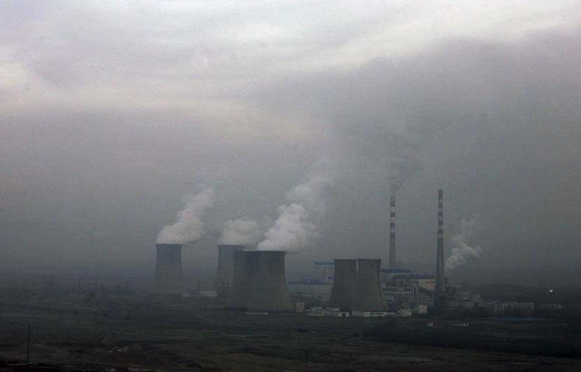 China's north is punctuated with coal-fired power plants, like the Haibowan plant on the outskirts of Wuhai, Inner Mongolia, Dec. 6, 2009. Jason Lee/Reuters/VCG