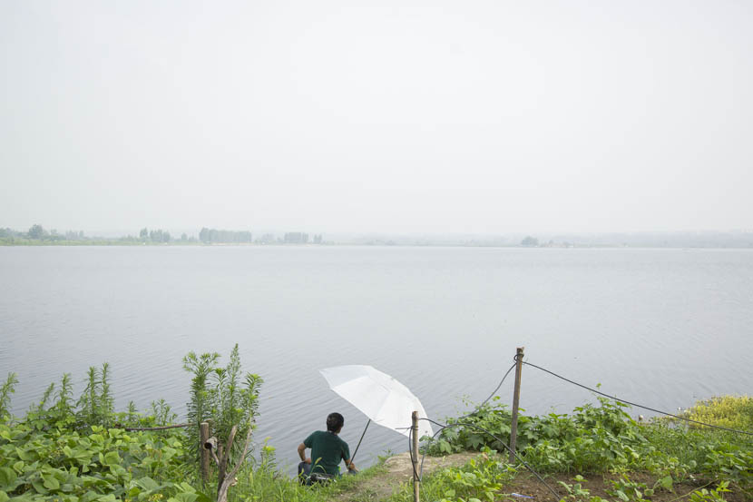 A man fishes at Chunshen Lake in Huainan City, Anhui province, July 7, 2016. Wu Yue/Sixth Tone