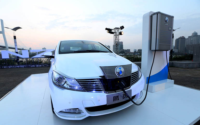 A Denza electric car on display for its China debut, Shanghai, Sept. 26, 2014. Zhou Junxiang/IC