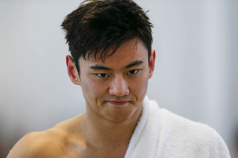 Ning Zetao is pictured after competing in the men's 50-meter freestyle final on day seven of the China National Swimming Championships in Baoji, Shanxi Province, April 15, 2015. Lintao Zhang/Getty Images/VCG