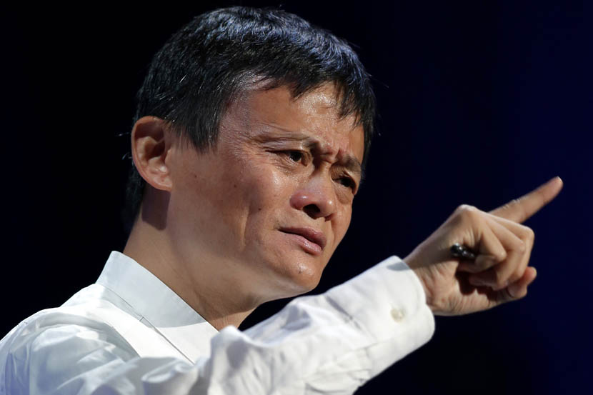 Jack Ma, founder and chairman of Alibaba Group, gestures during a talk at the SoftBank World 2014 conference in Tokyo, Japan, July 15, 2014. Kiyoshi Ota/Bloomberg via Getty Images/VCG