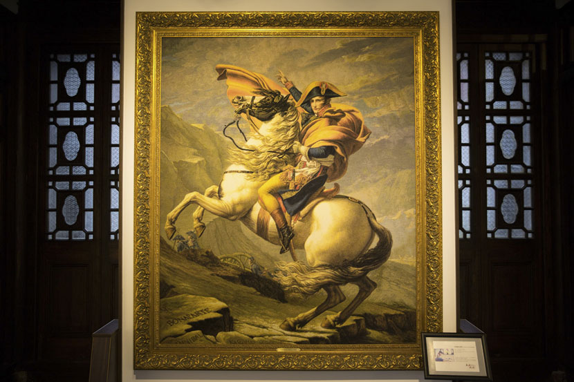 A woolen embroidery piece of Napoleon on display at Shanghai East Coast Woolen Embroidery Research Center in Gaoqiao, Shanghai, May 23, 2017. Shi Yangkun for Sixth Tone