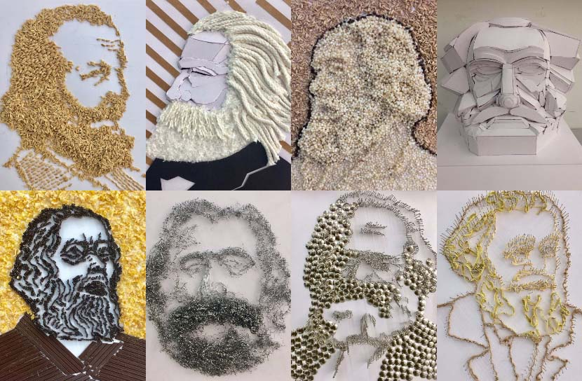 Photos of student-made portraits of Karl Marx are displayed at Zhejiang University of Finance and Economics in Hangzhou, Zhejiang province, March 2018. From the university's official Weibo account