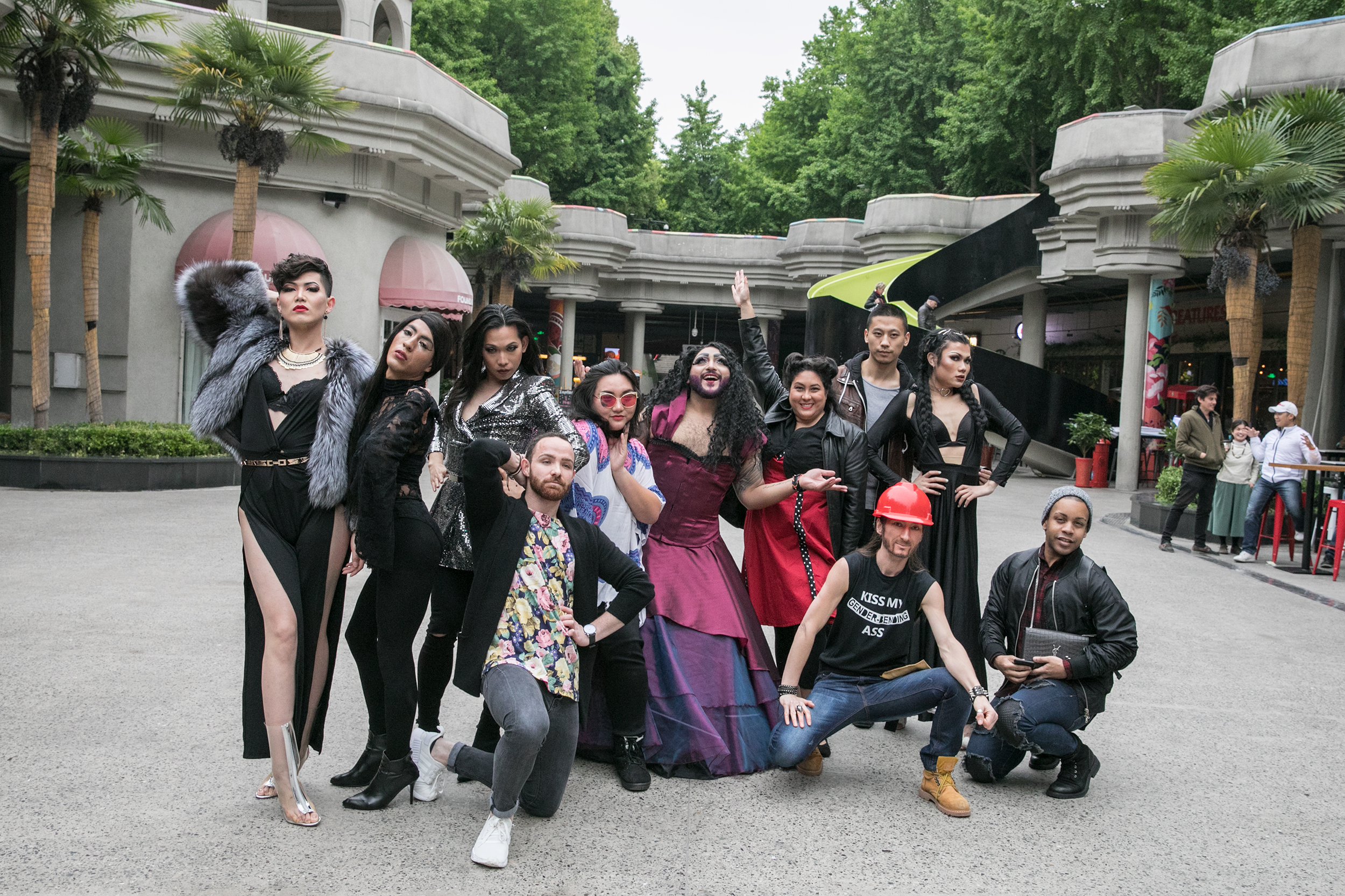 Flashmob featuring local drag kings and queens Cocosanti, Dorian T. Fisk, Fantasia Valentina, Erica, Shark, Nina 'the Duchess' Flowers and allies, Shanghai, April 14, 2018. Courtesy of Alejandro Scott