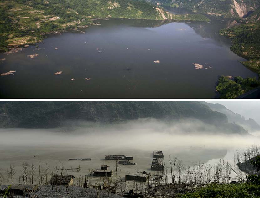 Above: The still surface of the Tangjiashan barrier lake, formed after the Wenchuan earthquake triggered landslides that blocked off a river, Beichuan Qiang Autonomous County, Sichuan province, June 10, 2008. By Yang Weihua; Below: A village submerged in water after the earthquake is seen five years later, Beichuan Qiang Autonomous County, Sichuan province, July 14, 2013. Yang Bo for Sixth Tone