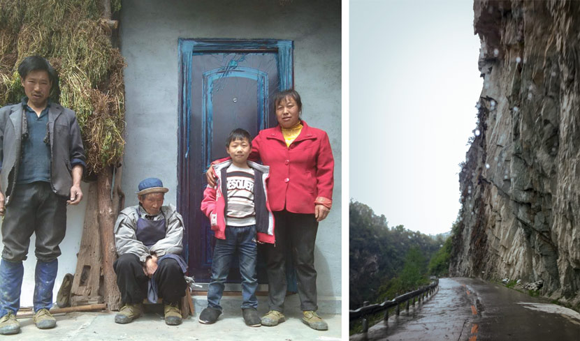 Left: Liu Qing, 8, poses for a photo with his parents and grandfather on their farm outside Piankou Township, Sichuan province, April 2018. Courtesy of the Liu family; right: Piankou is accessible by a single road that is often blocked by debris during the rainy season, Beichuan Qiang Autonomous County, Sichuan province, March 2018. Eileen Guo for Sixth Tone