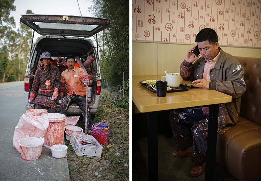 Left: Huang Xinxiang (right) poses for a photo with his business partner in Jiangmen, Guangdong province, Feb. 4, 2018; right: Huang Xinxiang talks on the phone during lunch in Jiangmen, Guangdong province, Feb. 5, 2018. Luo Binhao/VCG