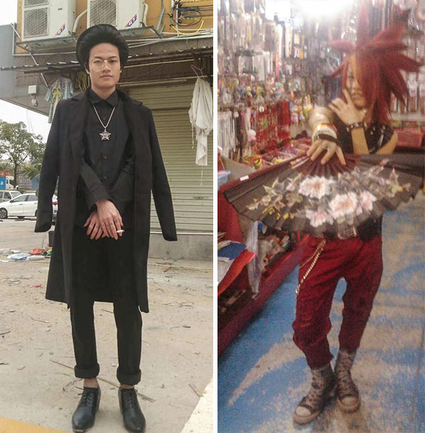 Luo Fuxing poses for photos in 2018 (left) and 2008 (right), both in Guangdong province. Courtesy of Luo Fuxing