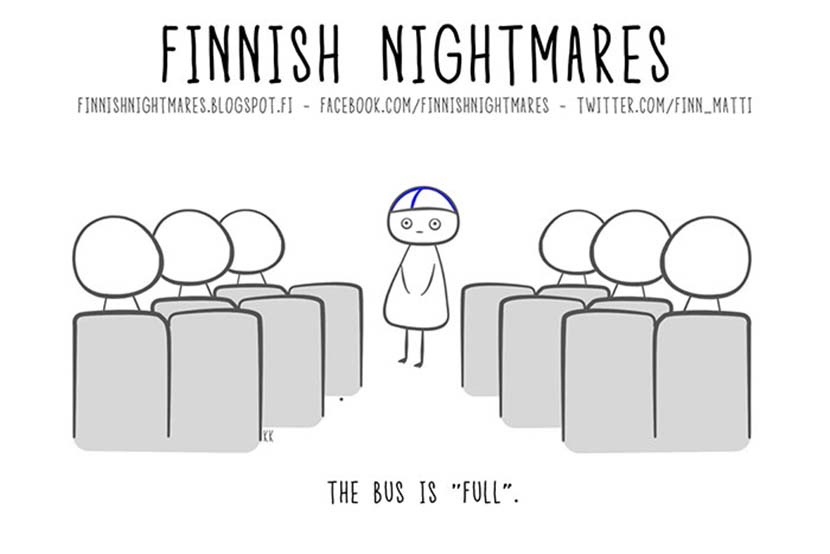 A cartoon from 'Finnish Nightmares' shows protagonist Matti feeling uncomfortable when looking for a seat on a bus. Courtesy of Karoliina Korhonen