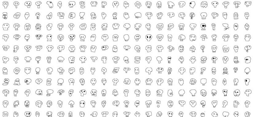 A screenshot from the 'Quick, Draw!' website shows players' skull sketches.