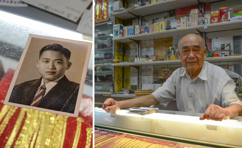 Left: A photo of Wan Yam as a teenager; Right: Wan Yam poses for a photo in his store on the Hong Kong side of Chung Ying Street, June 15, 2018. Fan Liya/Sixth Tone