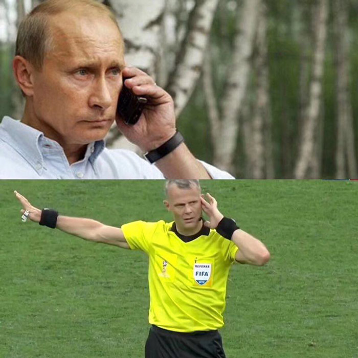 A meme implying that Putin is pulling the strings on the field. From Weibo