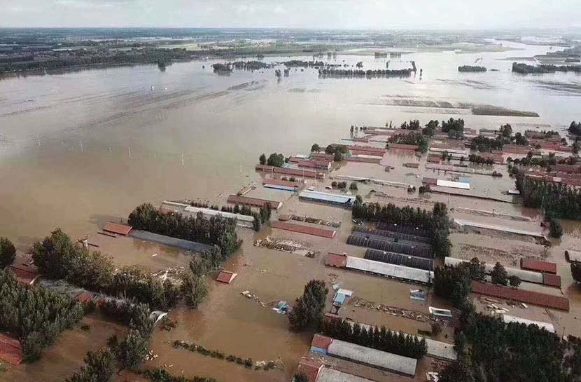 Homes are submerged by floodwaters in Shouguang, Shandong province, August 2018. Courtesy of Bai Xue