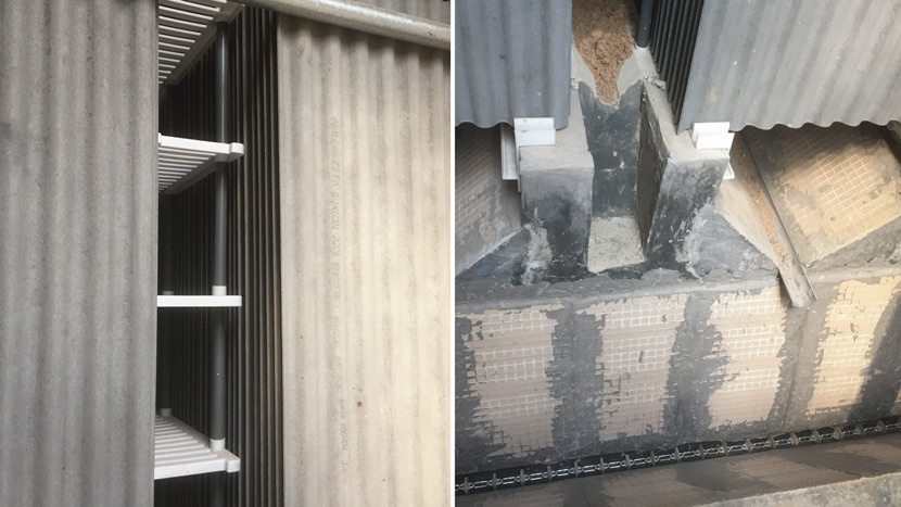 Left: Grooved panels are used as plates for cockroaches to eat mush; Right: A conveyor system transports dead cockroaches, egg cases, and excrement inside of Li Yanrong's new cockroach farm in Jinan, Shandong province, Aug. 16, 2018. Qian Zhecheng/Sixth Tone