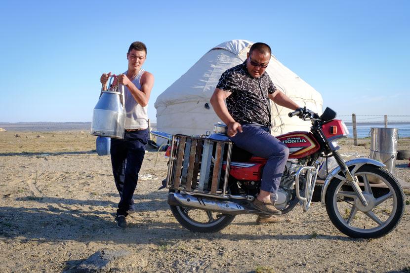 Adallik Nudek helps to load milk on Aykush Kaken's motorcycle in Fuhai County, Xinjiang Uyghur Autonomous Region, July 10, 2018. Bibek Bhandari/Sixth Tone