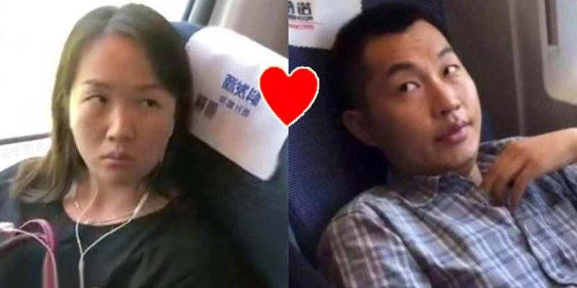 A netizen-created meme depicts two high-speed rail passengers who refused to sit in their assigned seats as a happy couple.