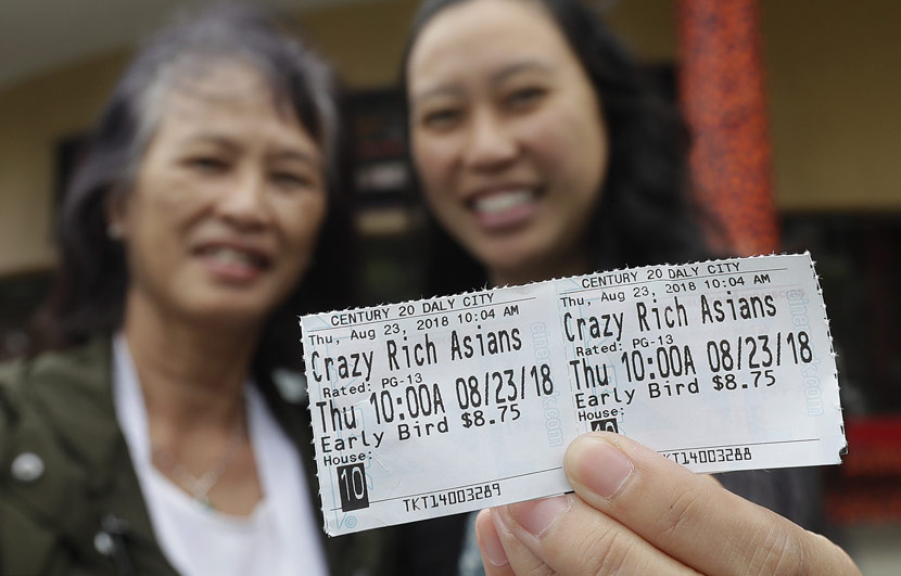 Two women show off their tickets after a screening of 'Crazy Rich Asians' in Daly City, U.S., Aug. 23, 2018. Jeff Chiu/IC