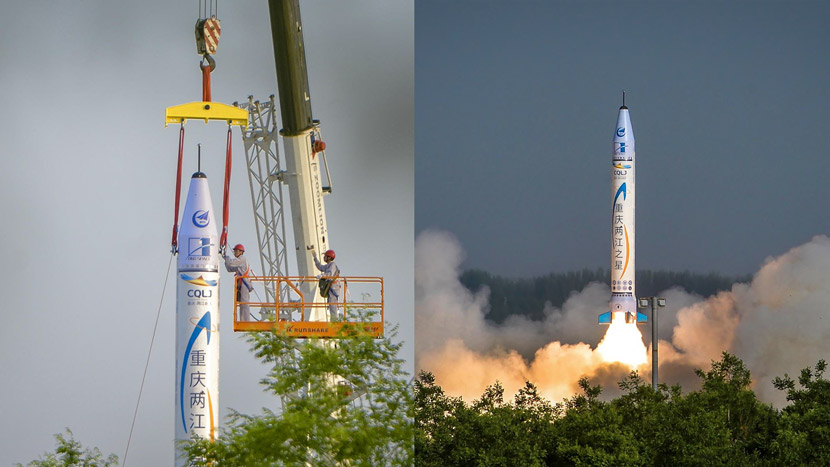 The OS-X, a private rocket built by OneSpace, is prepared for launch (left) and blasts off from an unnamed base in northwestern China (right), May 17, 2018. Wan Nan/CNS/VCG