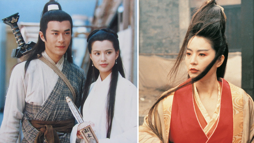 Still frames from a 1995 adaptation of the Louis Cha novel 'Return Of The Condor Heroes' (left) and a 1992 adaptation of his 'The Smiling, Proud Wanderer' (right). From Douban