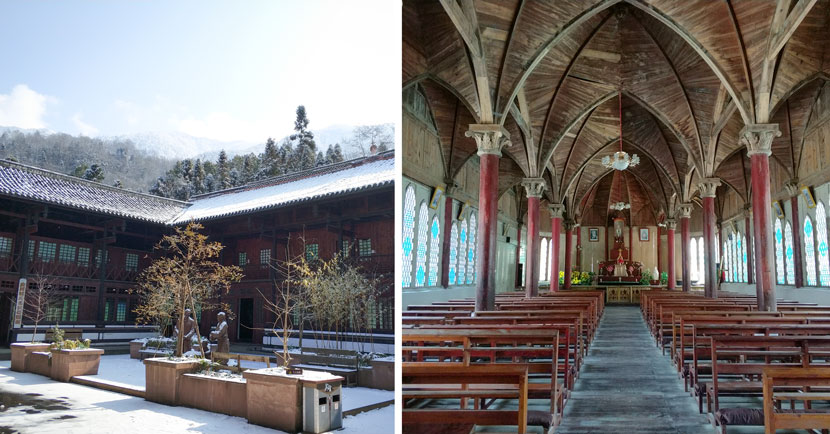 The exterior (left) and interior of Dengchigou Church in Baoxing County, Sichuan province, Feb. 5, 2018. Courtesy of Ma Te