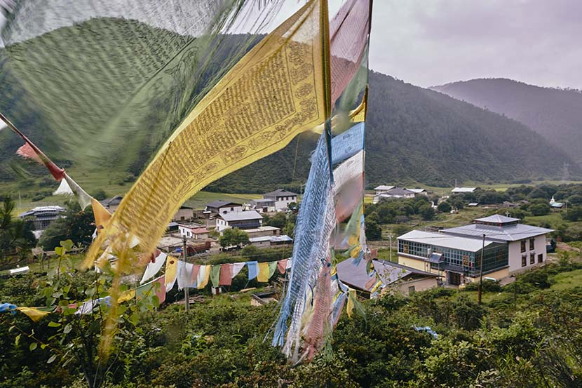 A mountain view of the village of Chugu in Geza, Diqing Tibetan Autonomous Prefecture, Yunnan province, July 18, 2018. Wu Huiyuan/Sixth Tone
