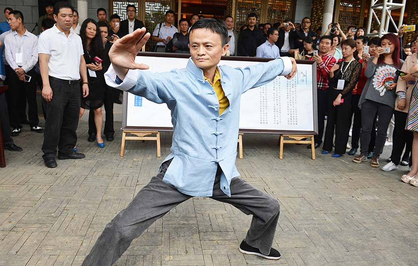 Jack Ma practices tai chi in Hangzhou, Zhejiang province, May 2013. VCG