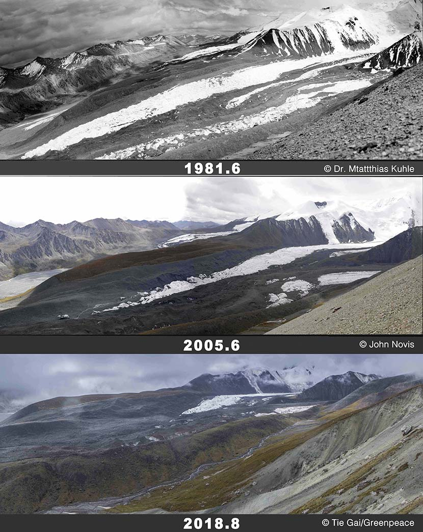 A comparison of Halong Glacier in 1981, 2005, and 2018, respectively. The glacier is located in western China's Qinghai province. Courtesy of Greenpeace