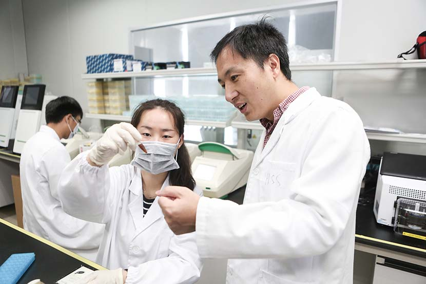 He Jiankui interacts with a researcher at a laboratory in Shenzhen, Guangdong province, Aug. 4, 2016. VCG