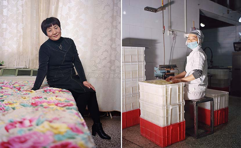 Left: Cui Miaoyun poses for a portrait at home; right: A worker at a noodle factory in Nanjie, Henan province, 2018. Shi Yangkun/Sixth Tone