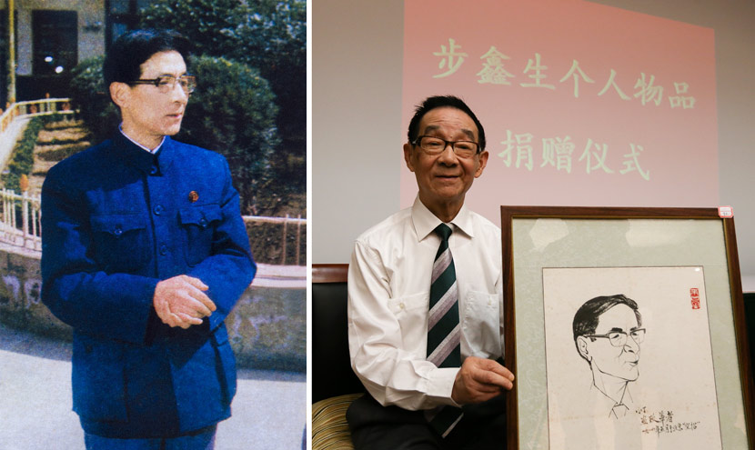 Left: Bu Xinsheng at the Zhejiang Haiyan Shirt Factory in Haiyan County, Zhejiang province, April 1982. Yuan Peide/VCG; right: Bu Xinsheng poses for a photo in Haiyan County, Zhejiang province, June 12, 2014. VCG