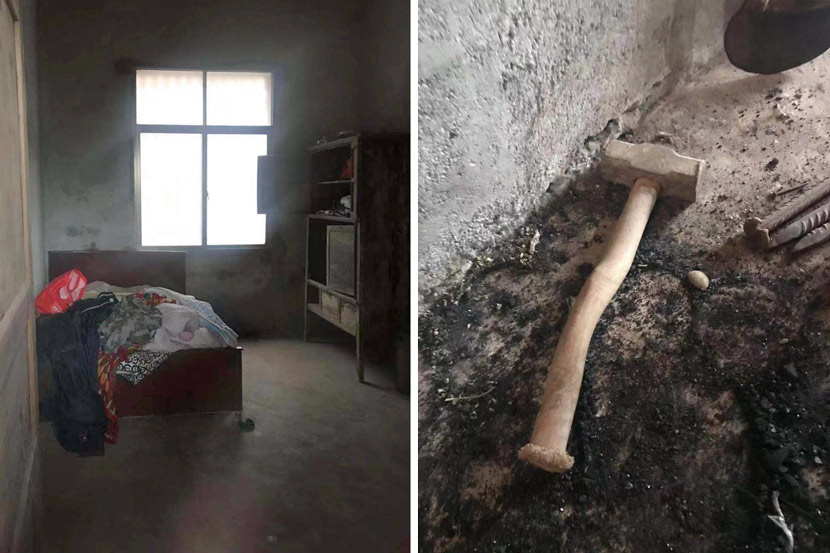A bedroom inside the family's home (left) and a hammer that the 13-year-old boy may have used to kill his parents in Hengnan County, Hunan province, Jan. 2, 2018. Jiang Gewei for Sixth Tone