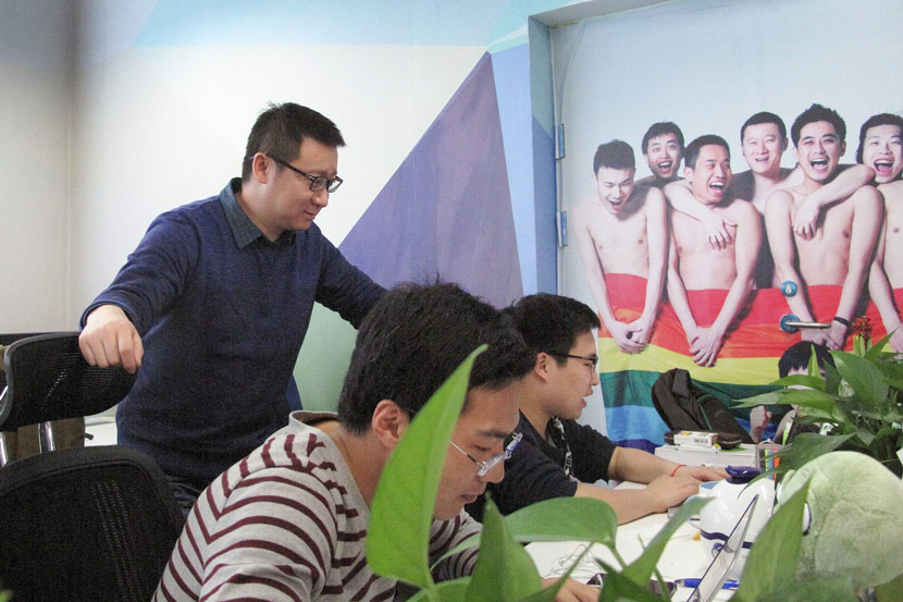 Ma Baoli oversees the team at the company's Beijing office on January 7, 2015. Guo Yeqi / Reuters / VCG