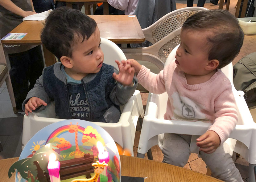Luke and Geneva celebrate their first birthday in Shanghai, November 2018. Courtesy of George Zeng