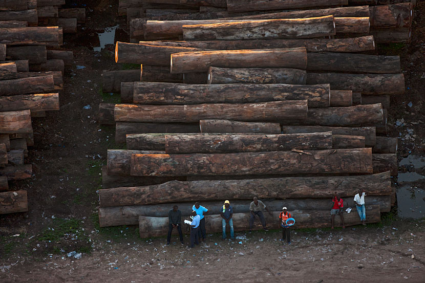 Wood stored in the port of Brazzaville, Republic of Congo, Oct. 19, 2011. Yann Arthus-Bertrand/Hope Productions/VCG