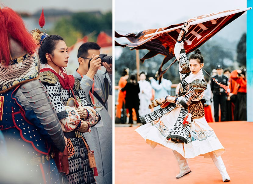 641dcdf48 Jin Yu performs in armor at a conference on traditional Chinese music in  Wuyishan, Fujian